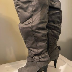 """3"""" gray suede thigh high boots"""